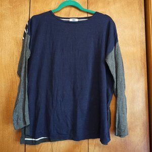 Blue, grey, and white striped back sweater